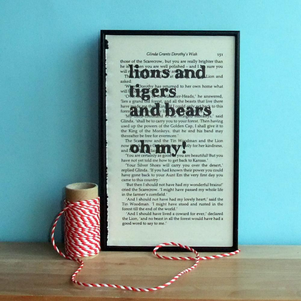 Wizard of Oz Eco Friendly typographic art Lions and Tigers and Bears