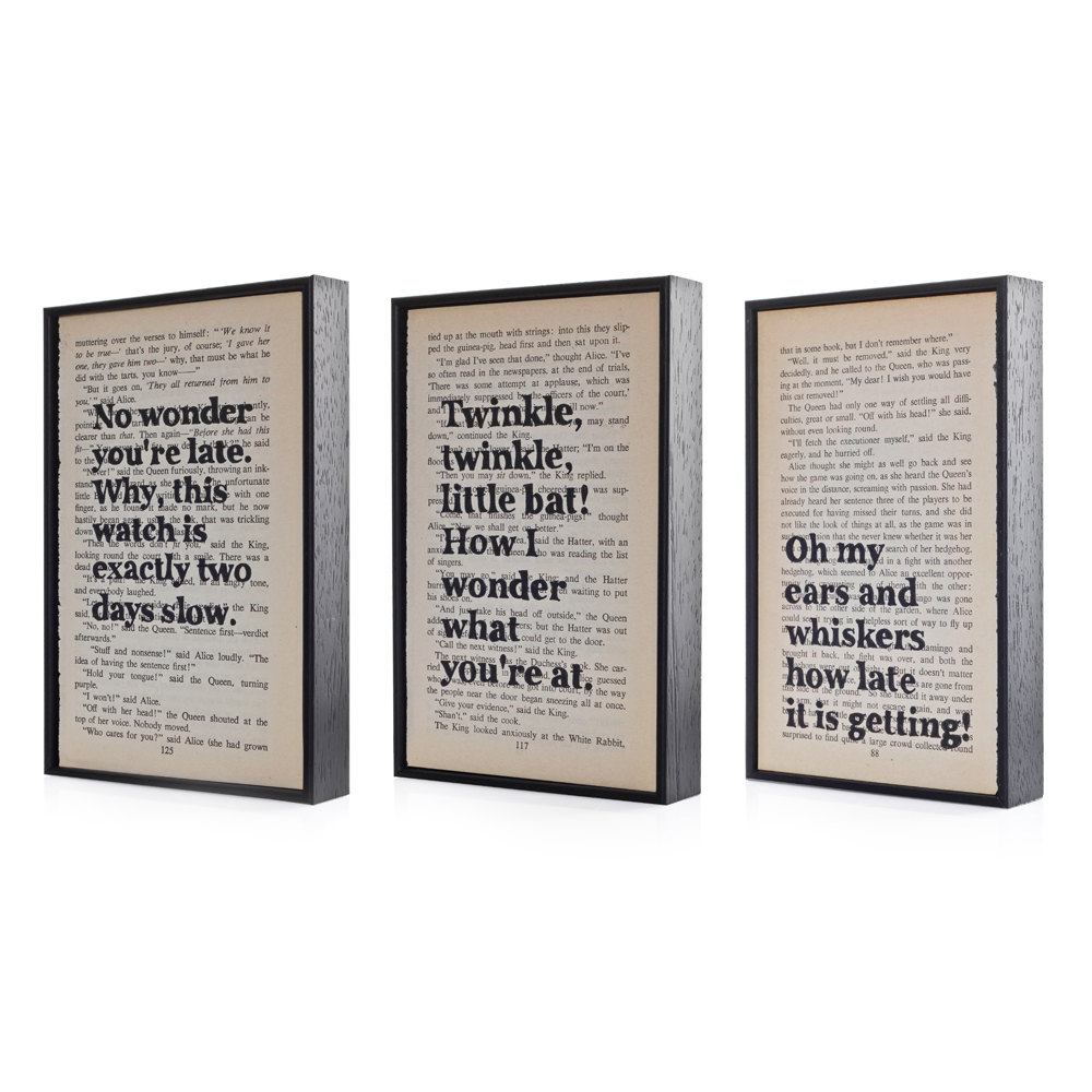 Alice In Wonderland Book Quotes: Alice In Wonderland Quotes Altered Book Art Typographic