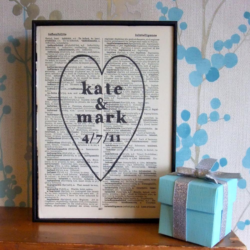 Antique Wedding Gifts: Personalized Wedding Gift Heart Names And Date On Vintage