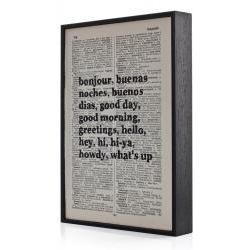 Bonjour Typographic Art Print on Framed Antique Dictionary Page