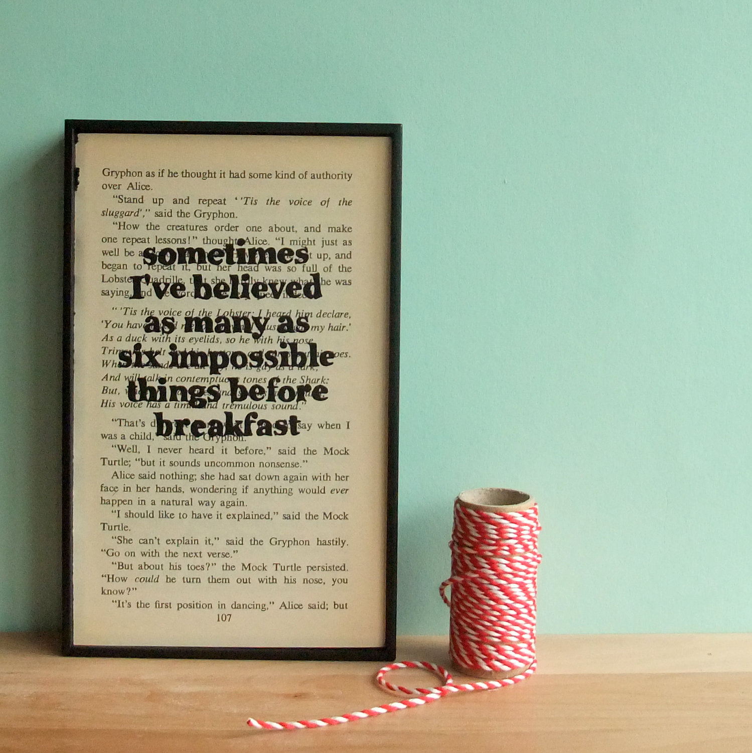 Alice In Wonderland Book Quotes: Alice In Wonderland Quote On Framed Vintage Book Page