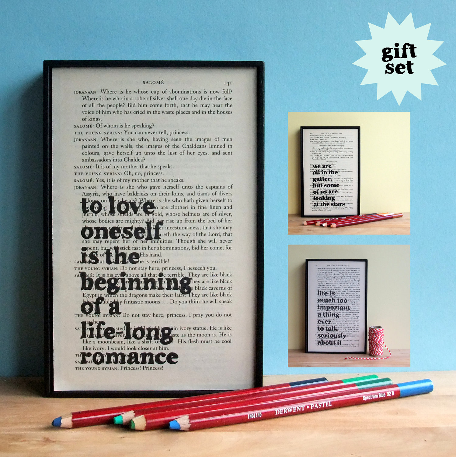 Inspirational Quotes From Books Oscar Wilde Inspirational Quote Gift Set Framed Artwork On