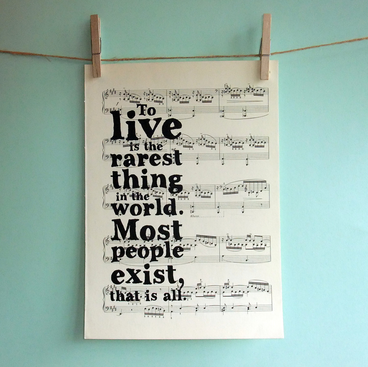 Inspirational Quotes About Music And Life Oscar Wilde Inspirational Quote Typographic Art Print On Vintage