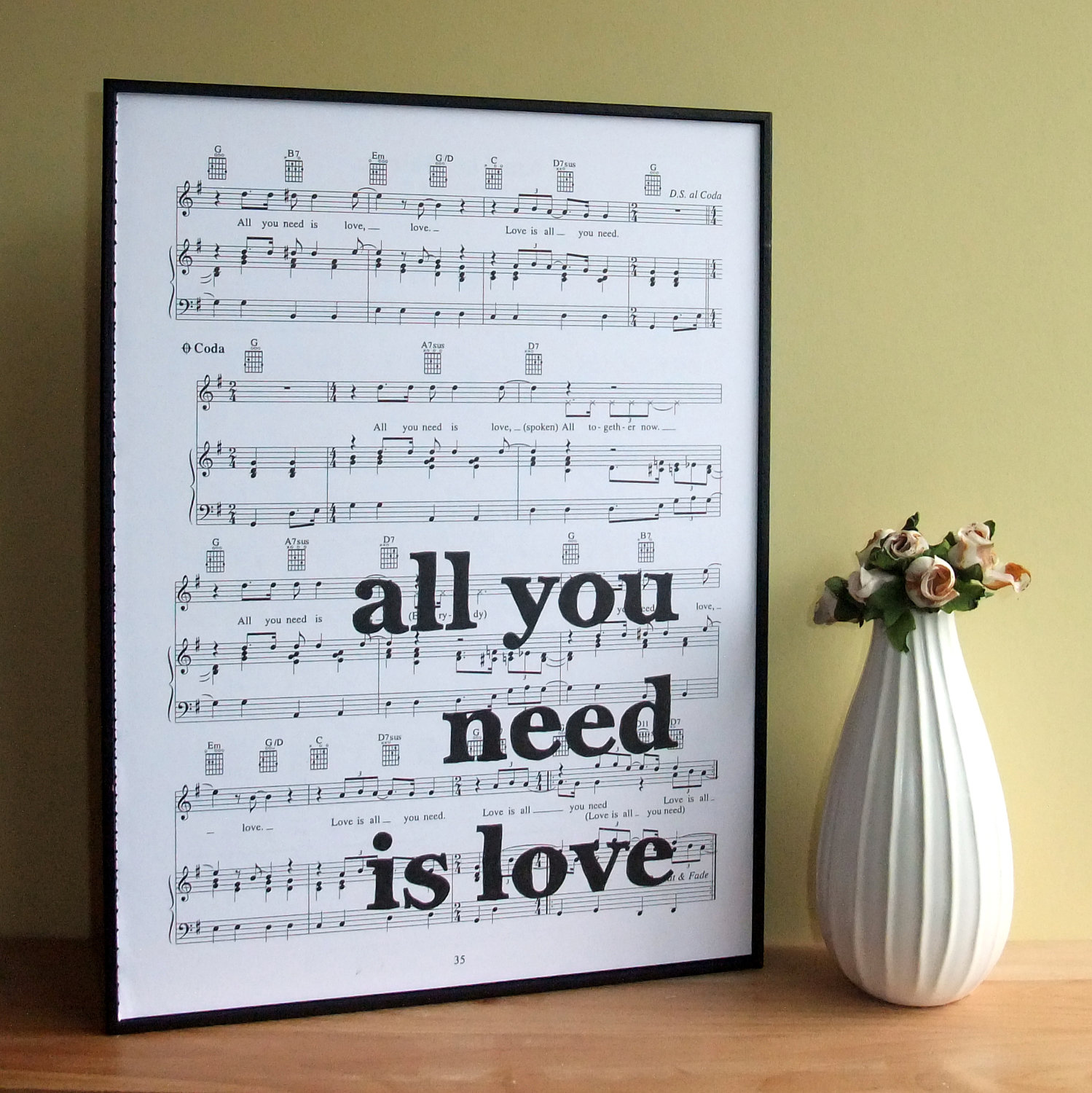 Beatles Lyrics Typographic Art Print On Framed Sheet Music