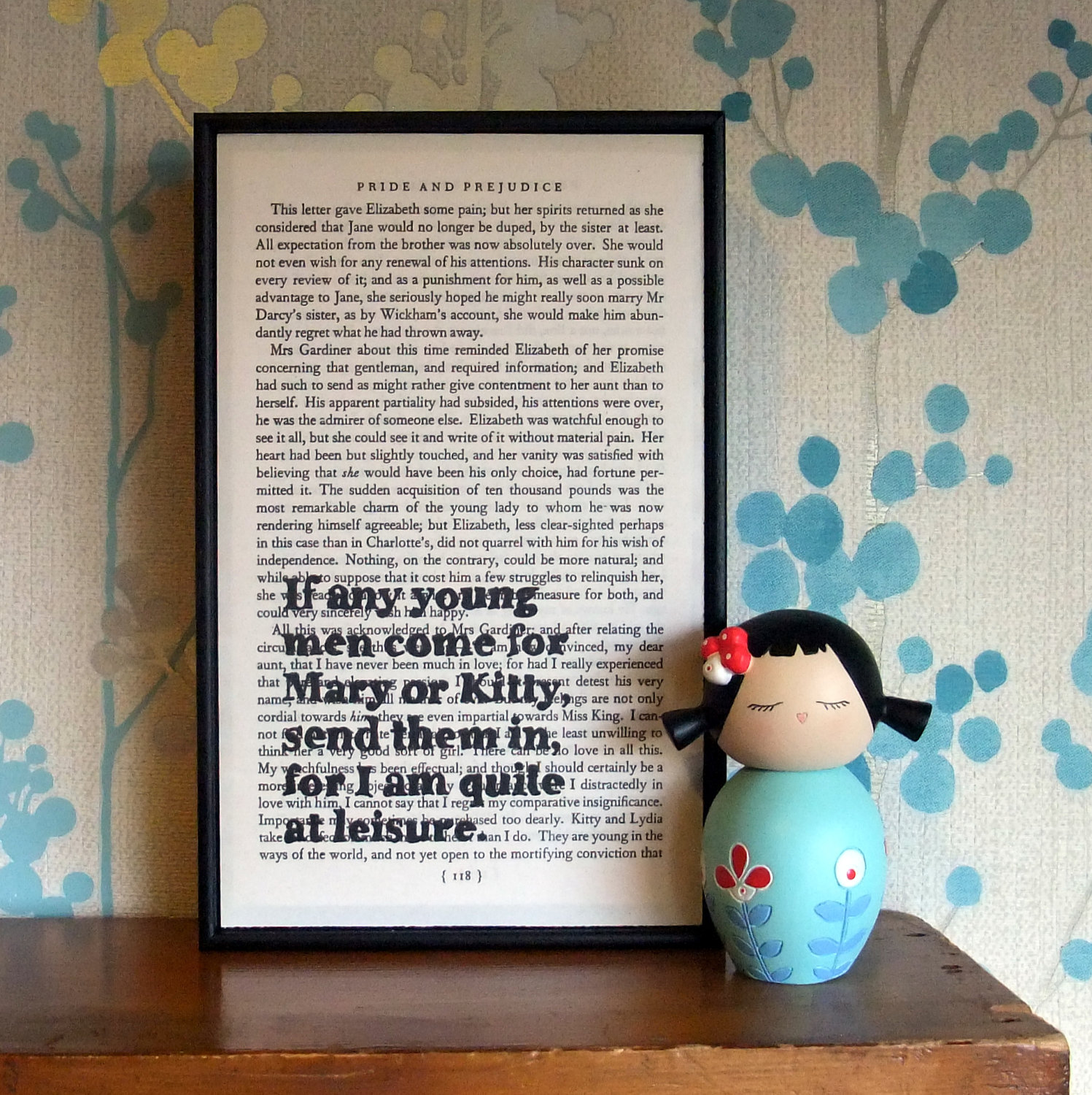 Pride And Prejudice Quote Art I Am Quite At Leisure Framed Altered